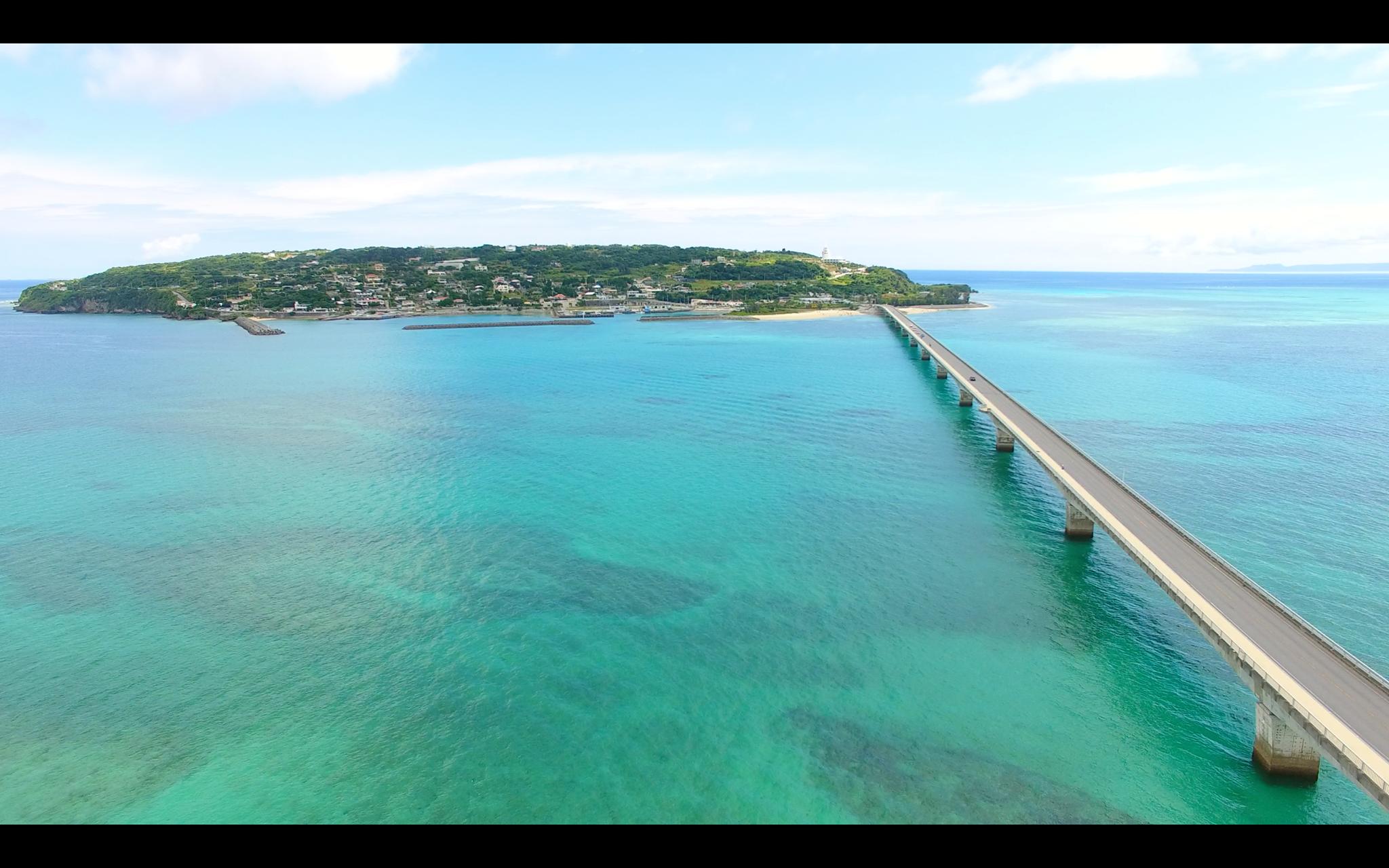古宇利島をドローンで撮影した画像